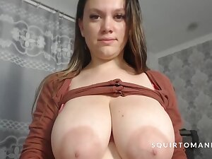 Full Glass Of Milk Squirting Wean away from Obese Unsophisticated Tits