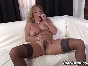 Filthy Minded Fair-haired Mature Is Sucking And Riding A Big, Black Dick In The Living Scope