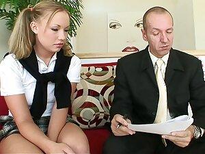 Blonde schoolgirl and elder load of shit