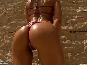 Bikini sex, including tormented outdoor D.P.