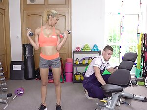 Bonny blonde feels attracted to the guy who's fixing her gear
