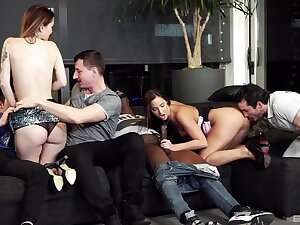 Denude amateur body of men swap partners in dirty interracial foursome