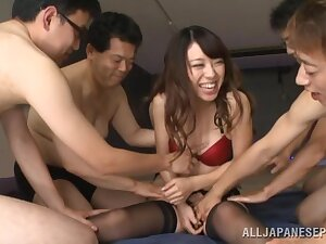 Japanese cutie Rinn Tsuchiya gets fucked away from lot of lucky guys