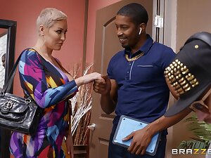 Older blonde widely applicable Ryan Keely tries a racy BBC vulnerable for size
