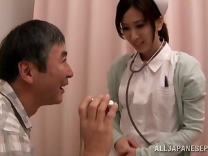 Hot Asian nurse Anna Noma spreads her legs take urgency a worked gumshoe