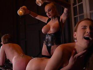 Kayla Green & Liona Levi & Lulu Love in Smoking Hot: Lesbian Girlhood Ass Fucked By Busty Dominatrix - KINK