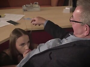 Amazing brunette with glasses is having a ffm triumvirate on tap work and enjoying it a to each
