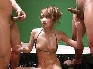 Luna goes aside with buy off in a japanese orgy