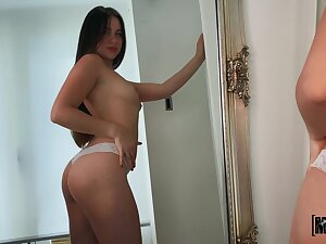 Having come home all alone long haired infant fingers her wet pussy